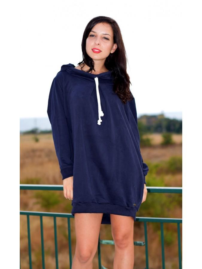 Суетшърт - рокля Карина в тъмно синьо