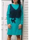 Рокля с панделка в цвят мента - Модел Биляна