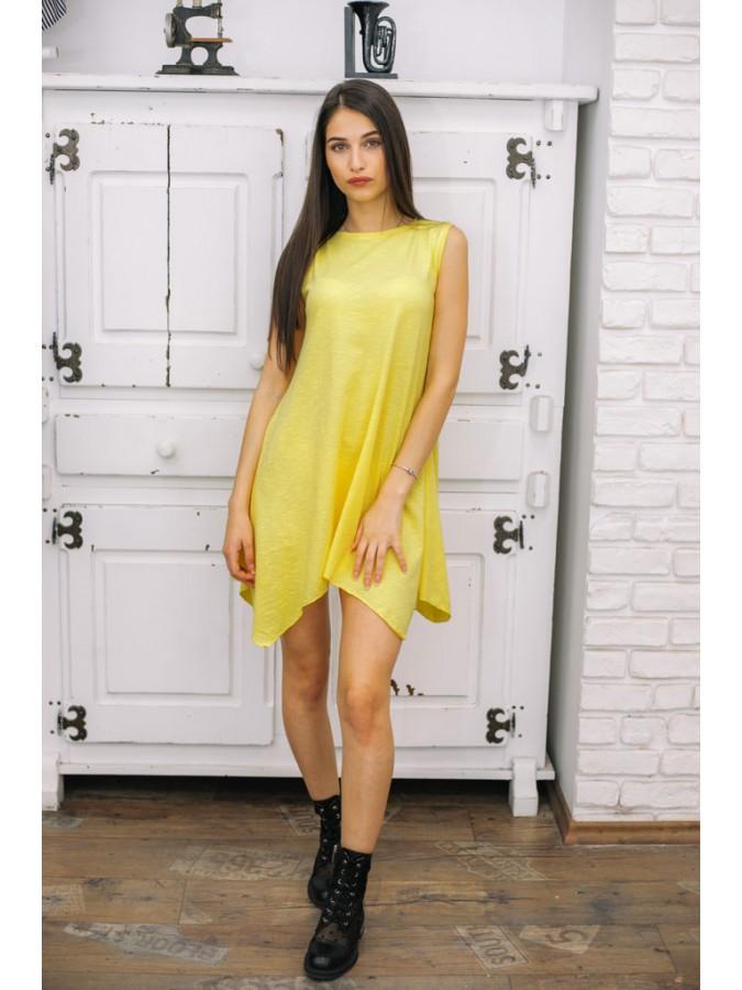 Асиметрична туника Димана в лимонено жълто