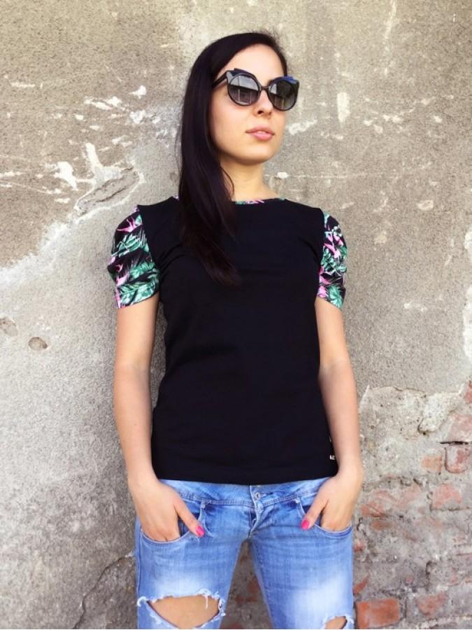 Блуза с цветен набран ръкав - Камелия