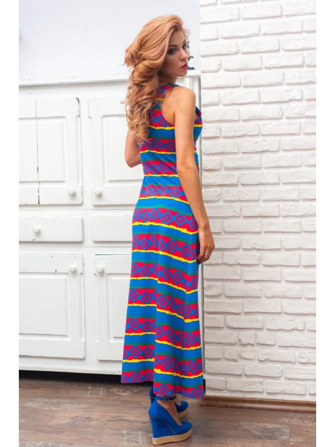 Дълга рокля  на геометрични райета