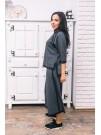 Пола - панталон в тъмно сиво с черни кантове