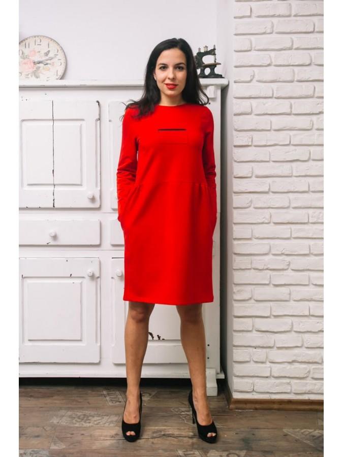 Рокля с джобове и декоративни цип елементи - Тина в червено