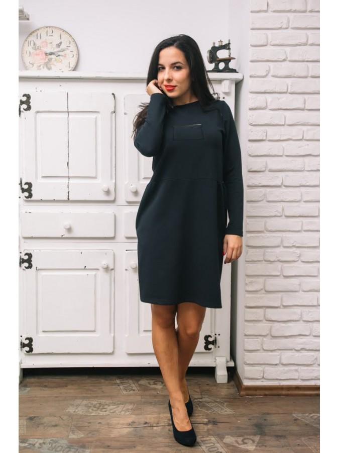 Рокля с джобове и декоративни цип елементи - Тина в тъмно синьо